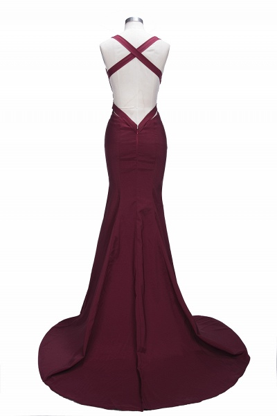 TESS | Mermaid V-neck Sleeveless Floor Length Burgundy Prom Dresses_8