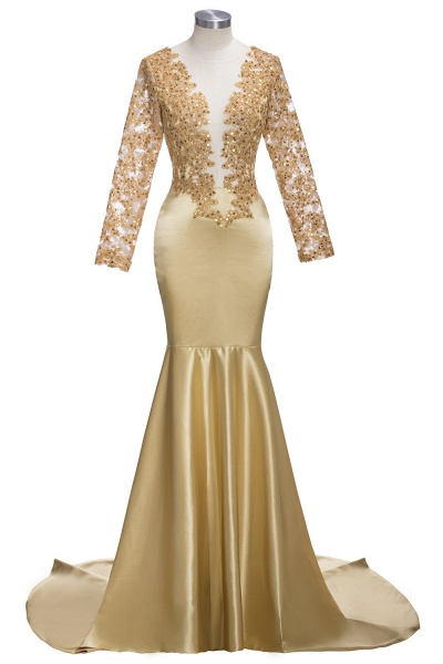 THEODORA | Mermaid Long Sleeves Lace Appliques Sequins Prom Dresses_6