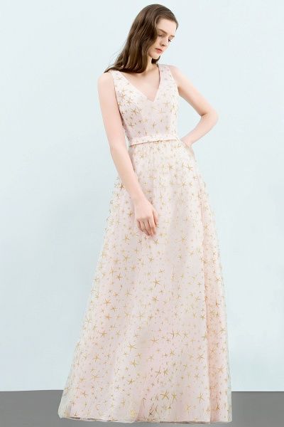 Affordable V-neck Tulle A-line Evening Dress_5