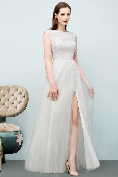 Modest Jewel Tulle A-line Evening Dress_5