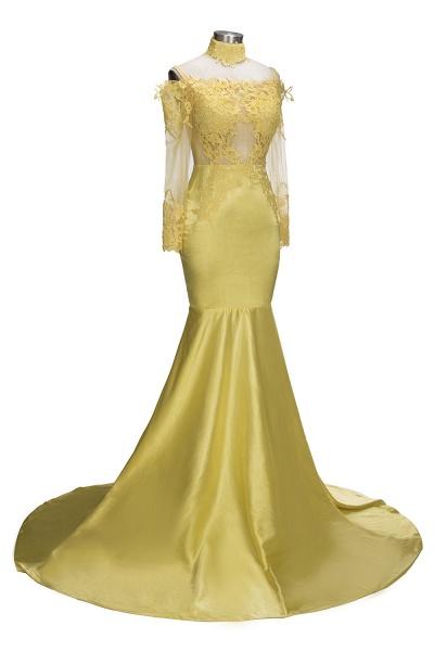 SCARLET | Mermaid Off-shoulder Floor Length Long Sleeves Appliqued Prom Dresses_6