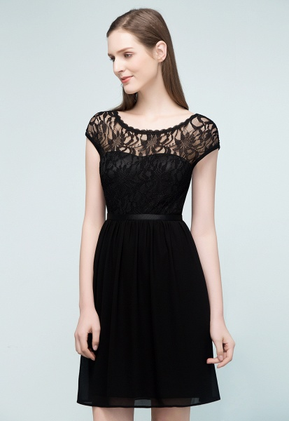 A-Line Chiffon Lace Scoop Sleeveless Knee-Length Bridesmaid Dresses_4
