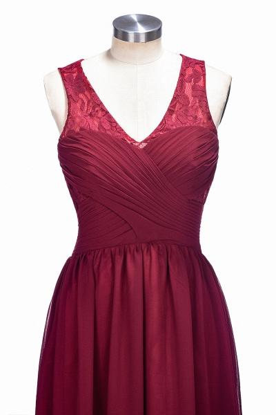 TONI | A-line V-neck Sleeveless Lace Ruffled Chiffon Prom Dresses_5