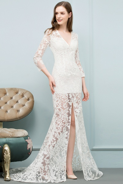 Best V-neck Lace Mermaid Evening Dress_7
