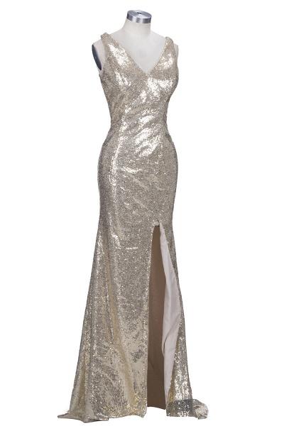 VIOLA   Sheath V-neck Long Split Sequined Champagne Prom Dresses_4