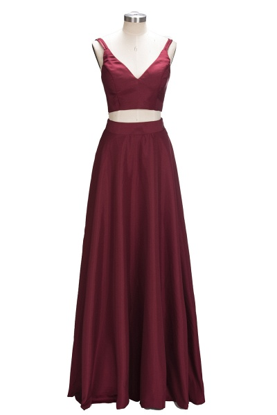 THOMASINA | A-line Sleeveless Two-Piece Spaghetti Straps Burgundy Prom Dresses_1