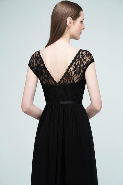 A-Line Chiffon Lace Jewel Short-Sleeves Floor-Length Bridesmaid Dresses with Sash_6