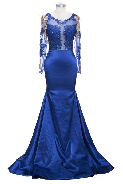 SARAH | Mermaid Long Sleeves Gold-Appliques Sheer Navy Blue Prom Dresses_4