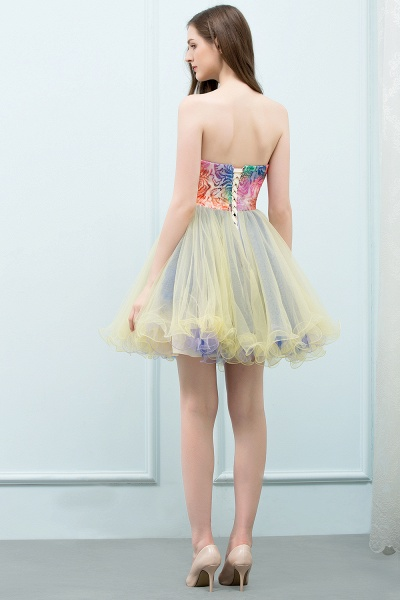 Elegant Strapless Tulle A-line Homecoming Dress_3