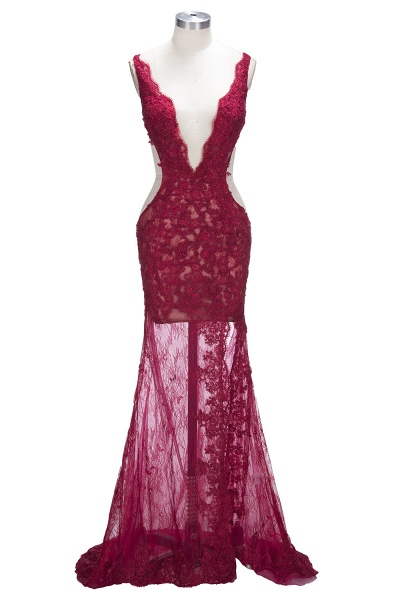 TRUDY | Mermaid Front-Split Sleeveless V-neck Lace Appliques Prom Dresses_1