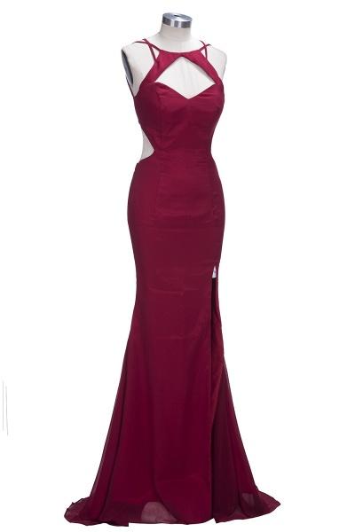VICTORIA | Mermaid Sleeveless Long Cutouts Side Slit Burgundy Prom Dresses_4