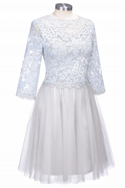 THEA   A-line Long Sleeves Short Lace Appliques Tulle Prom Dresses_1