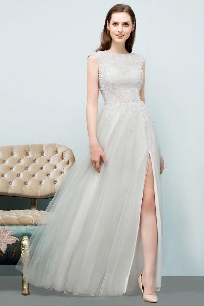 Modest Jewel Tulle A-line Evening Dress_7
