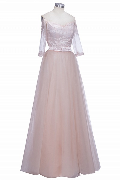 SABINE | A-line Half-Sleeves Long Off-the-shoulder Tulle Lace Prom Dresses_1