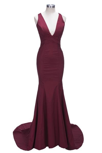 TESS | Mermaid V-neck Sleeveless Floor Length Burgundy Prom Dresses_5