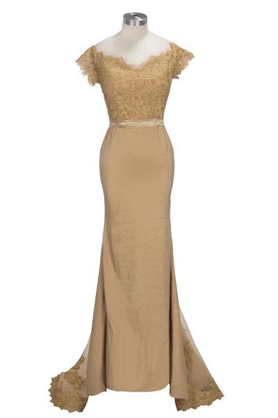 V-neck Short Sleeves Lace Mermaid Floor Length Bridesmaid Dress_1