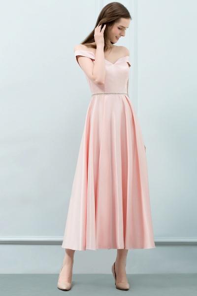 BM0829 A-Line Pink Off The Shoulder Crystal Long Bridesmaid Dress_5