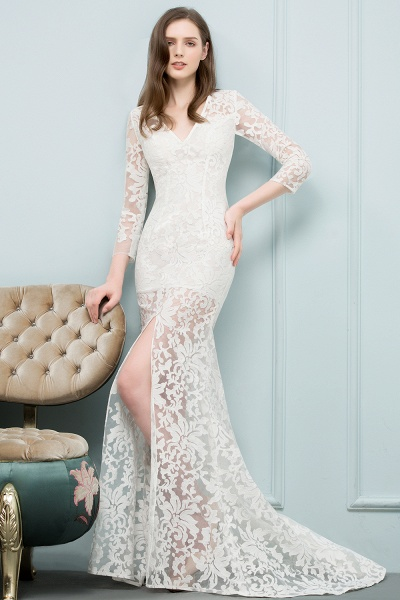 Best V-neck Lace Mermaid Evening Dress_1