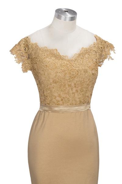 V-neck Short Sleeves Lace Mermaid Floor Length Bridesmaid Dress_5
