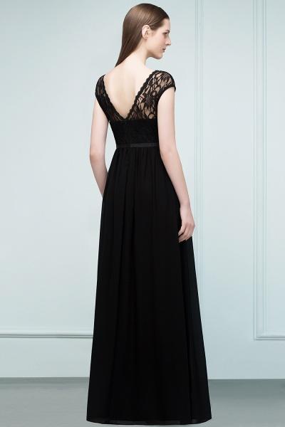 A-Line Chiffon Lace Jewel Short-Sleeves Floor-Length Bridesmaid Dresses with Sash_2