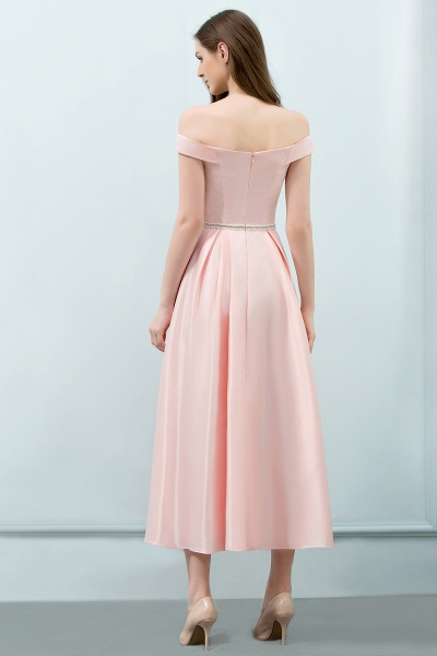 BM0829 A-Line Pink Off The Shoulder Crystal Long Bridesmaid Dress_2