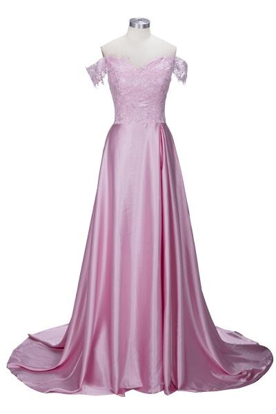THERESA | A-line Floor Length Split Off-the-Shoulder Lace Prom Dresses_2