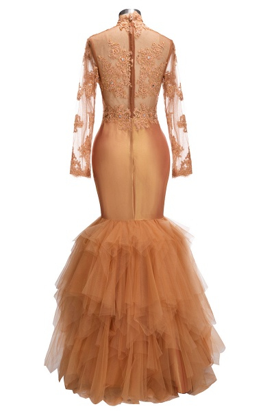 SELENA   Mermaid High Neck Long Appliques Sheer Prom Dresses_3