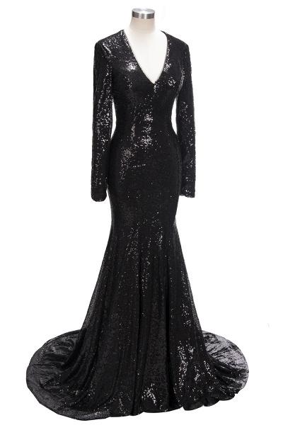 SANDRA | Mermaid V-Neck Long Sleeves Black Sequins Prom Dresses_6