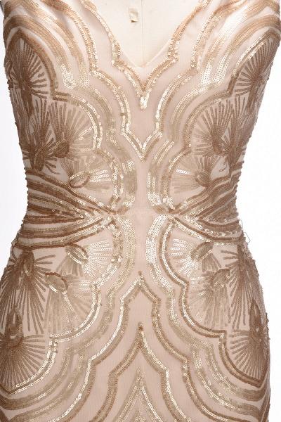 TANYA | Mermaid V-neck Sleeveless Long Champagne Sequins Prom Dresses_7