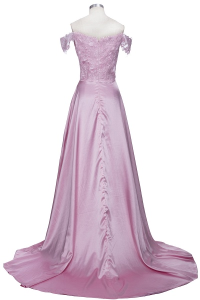 THERESA | A-line Floor Length Split Off-the-Shoulder Lace Prom Dresses_3