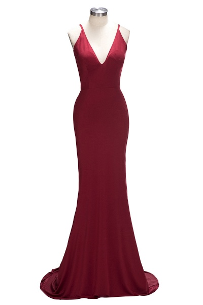 VIDA | Mermaid Long Deep V-Neck Spaghetti Straps Burgundy Prom Dresses_1
