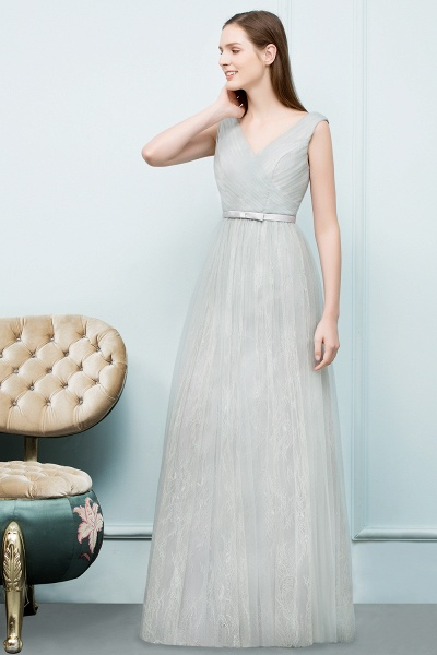 V-neck Lace A-line Floor Length Bridesmaid Dress_4