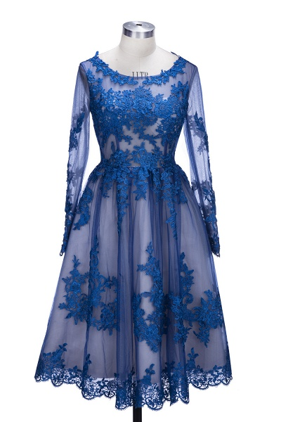 SELINA | A-line Short Scoop Long Sleeves Appliued Tulle Prom Dresses_1