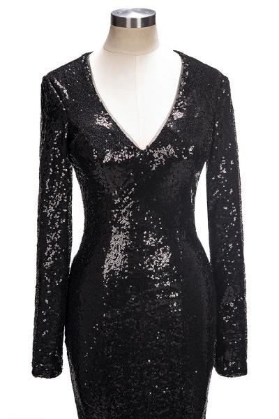 SANDRA | Mermaid V-Neck Long Sleeves Black Sequins Prom Dresses_1