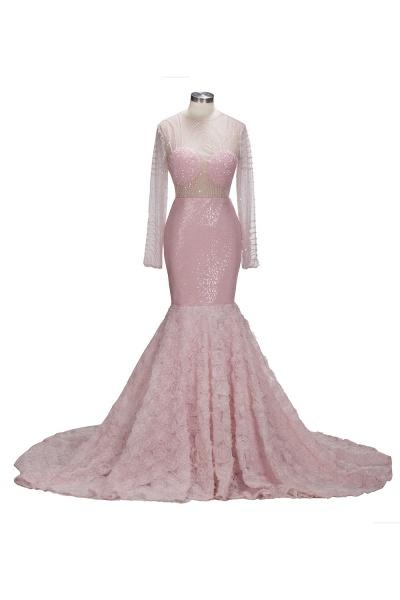 TATUM | Mermaid Long Sleeves Appliques Prom Dress with Pink Beadings_5
