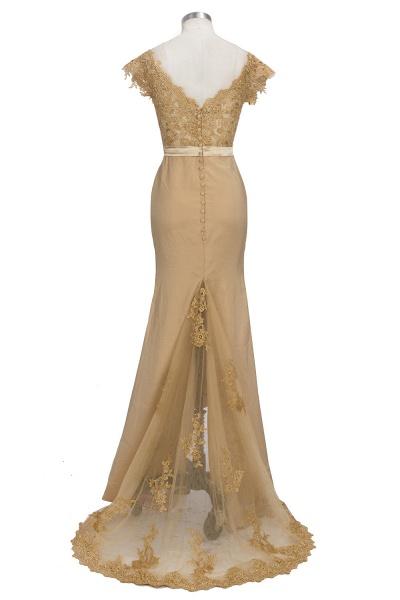 V-neck Short Sleeves Lace Mermaid Floor Length Bridesmaid Dress_3