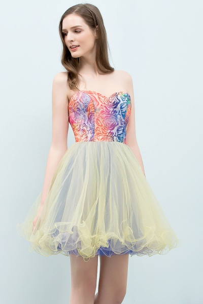Elegant Strapless Tulle A-line Homecoming Dress_7