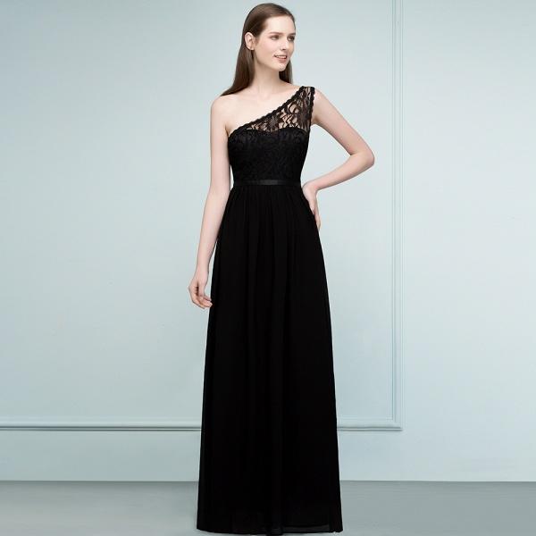 SYBIL | A-line One-shoulder Floor Length Lace Chiffon Bridesmaid Dresses with Sash_8