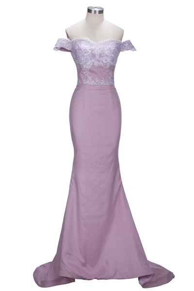 VIRGINIA | Mermaid Off-the-Shoulder Lace Appliques Blushing Pink Prom Dresses_1
