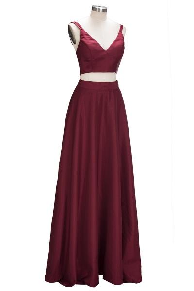 THOMASINA | A-line Sleeveless Two-Piece Spaghetti Straps Burgundy Prom Dresses_5