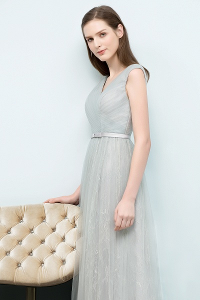 V-neck Lace A-line Floor Length Bridesmaid Dress_5