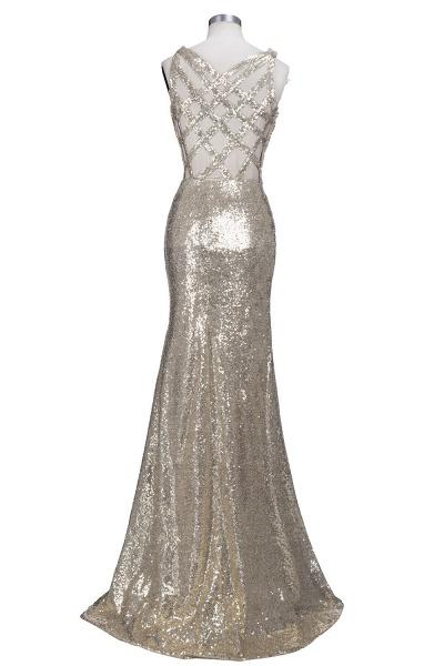 VIOLA   Sheath V-neck Long Split Sequined Champagne Prom Dresses_3