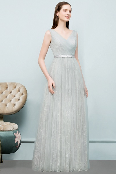 V-neck Lace A-line Floor Length Bridesmaid Dress_7