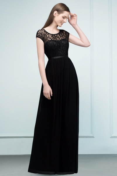 A-Line Chiffon Lace Jewel Short-Sleeves Floor-Length Bridesmaid Dresses with Sash_3