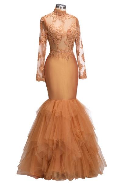 SELENA   Mermaid High Neck Long Appliques Sheer Prom Dresses_6