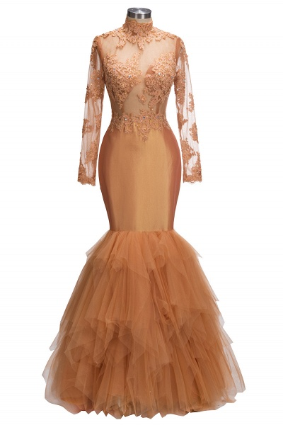 SELENA   Mermaid High Neck Long Appliques Sheer Prom Dresses_1
