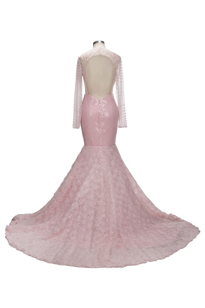 TATUM   Mermaid Long Sleeves Appliques Prom Dress with Pink Beadings_3