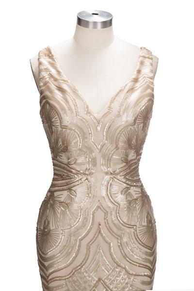TANYA | Mermaid V-neck Sleeveless Long Champagne Sequins Prom Dresses_5