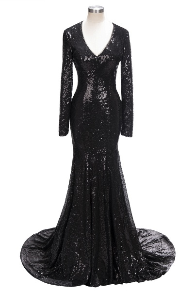 SANDRA | Mermaid V-Neck Long Sleeves Black Sequins Prom Dresses_4