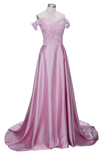 THERESA | A-line Floor Length Split Off-the-Shoulder Lace Prom Dresses_5